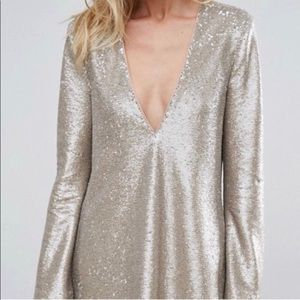 The JetSet Diaries Sequin Mini Dress Deep V-Neck